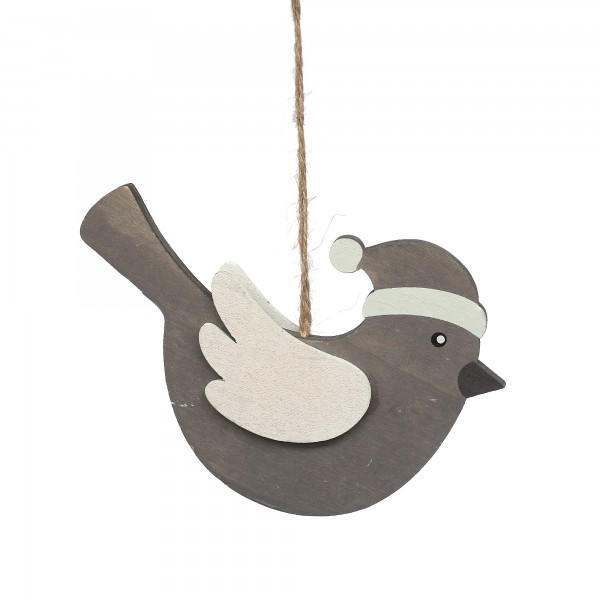 Holzanhänger Wintervogel, grau, T 1 cm, B 15 cm, H 18 cm