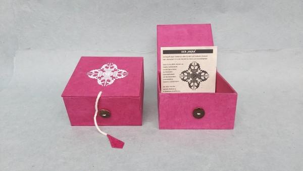 Lokta Box Vajra, pink, T 11 cm, B 11 cm, H 5,5 cm