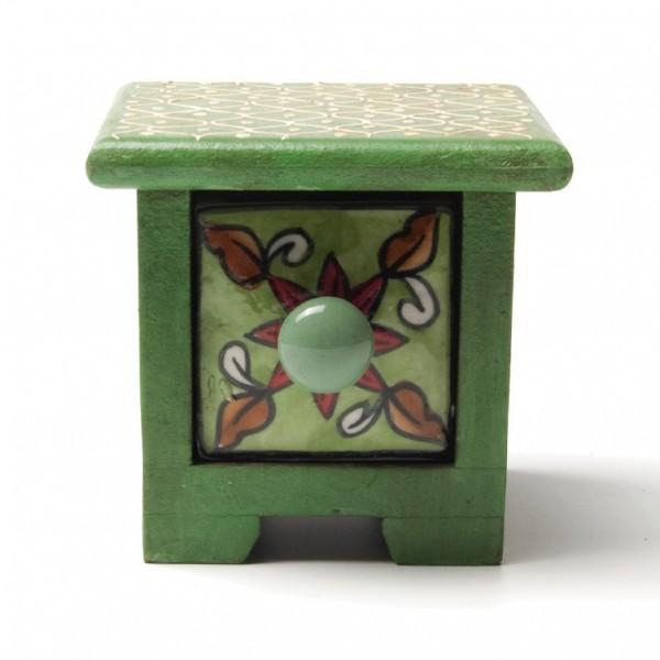 Schmucktruhe mit Schublade, grün, L 10 cm, B 10 cm, H 9 cm