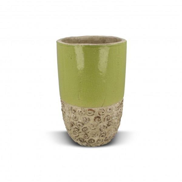 Pflanztopf schmal, grün/weiß, H 22 cm, Ø 14,5 cm