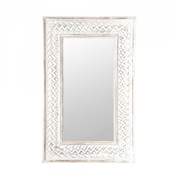 Spiegel 'Geflecht', weiß gekälkt, T 3 cm, B 51 cm, H 81 cm