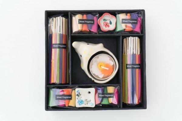 Räucher-Box mit 3 Haltern, multicolor, T 16 cm, B 16 cm, H 4 cm