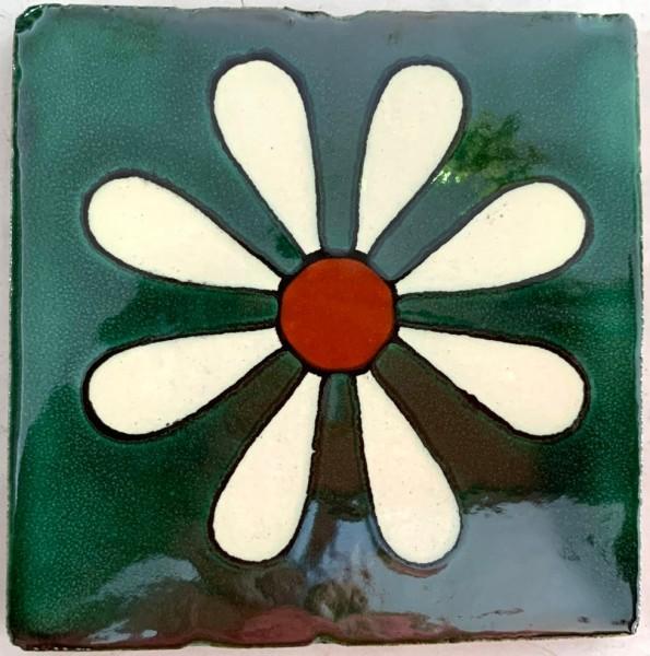 Kachel 'Margerita', grün, T 10 cm, B 10 cm, H 0,5 cm