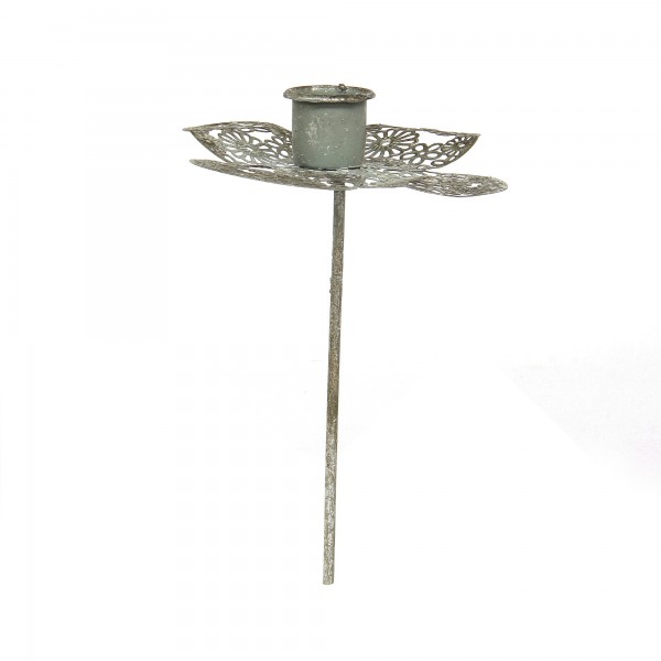 Kerzenstecker 'Esmeralda', silbergrau, Ø 13 cm, H 19 cm