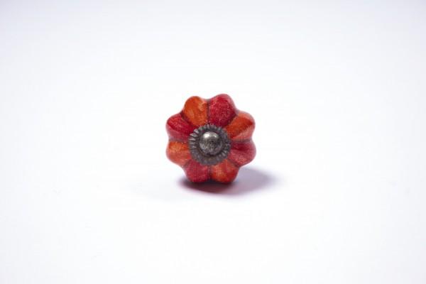 "Keramik Möbelknopf ""Blume"", handglasiert, rot/orange, Ø 3,5 cm"