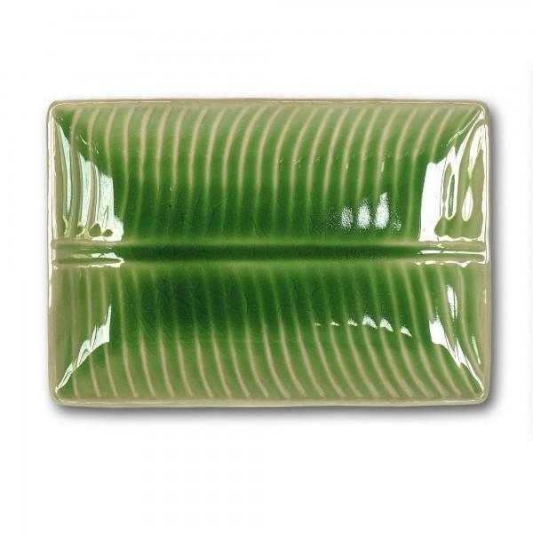 Ablage 'Banana-Leaf-Dish', grün, T 17 cm, B 25 cm, H 3 cm