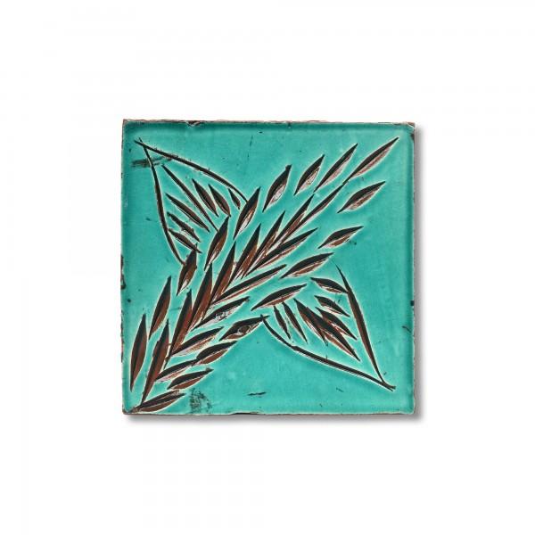 Kachel 'palme', türkis, T 10 cm, B 10 cm