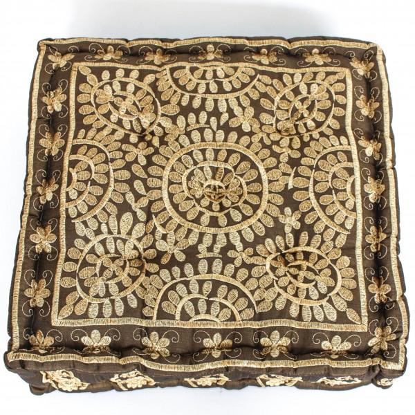 Sitzkissen mit Goldstickerei, braun/gold, L 40 cm, B 40 cm, H 10 cm