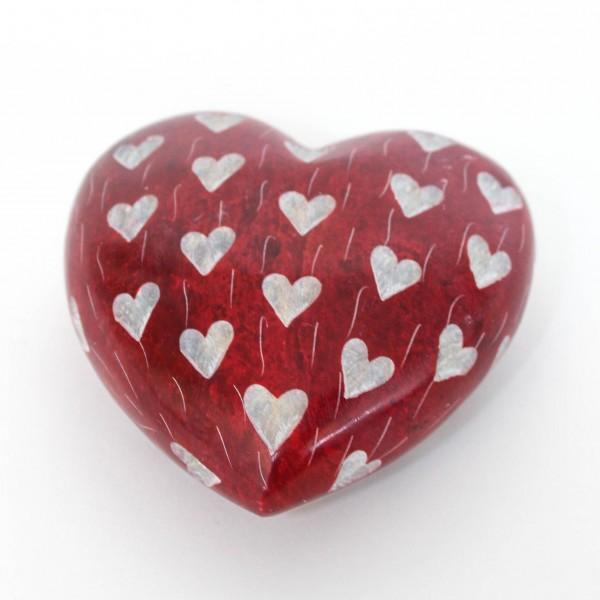 Steinherz mit Herzen, rot, L 8 cm, B 8 cm