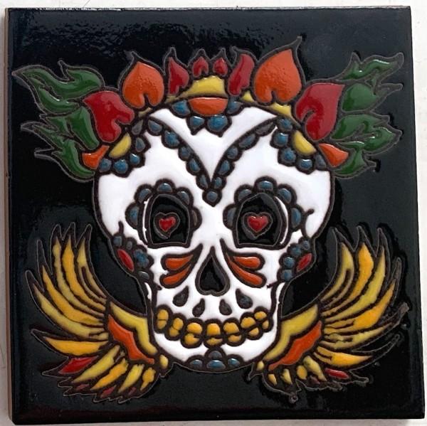 Reliefkachel 'Muerta', multicolor, T 10 cm, B 10 cm, H 0,5 cm