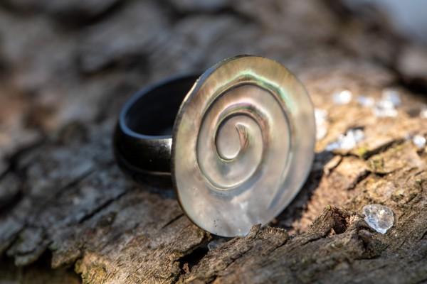 Ring Muschel Spirale , grau, T 3 cm, B 3 cm, H 0,5 cm