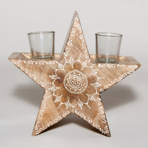 """Teelichthalter """"Goldstar"""" aus Holz mit 2 Gläsern, braun, B 24 cm, H 24 cm"""