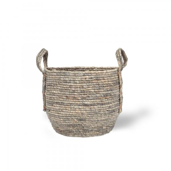 Korb 'Gamba' S, grau, natur, Ø 25 cm, H 22 cm
