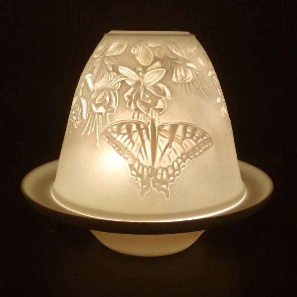 """Windlicht """"Schmetterling/Biene"""" aus Porzellan, Ø 10 cm, H 9 cm"""