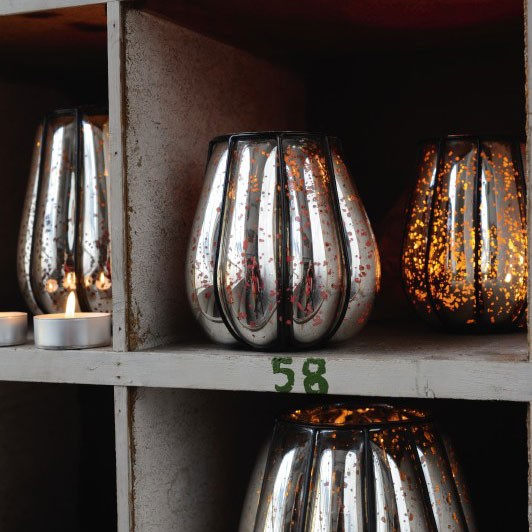 Windlicht 'Citrouille' mit Metallrahmen S, silber, Ø 14 cm, H 17 cm