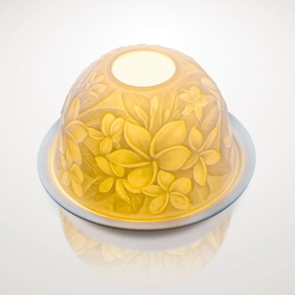 """Windlicht """"Plumeria"""" aus Porzellan, Ø 12 cm, H 7,5 cm"""