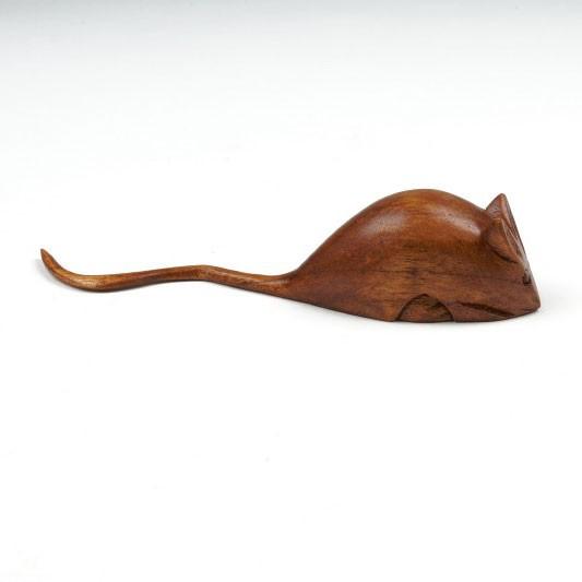 Handgeschnitzte Holzmaus, L 15 cm