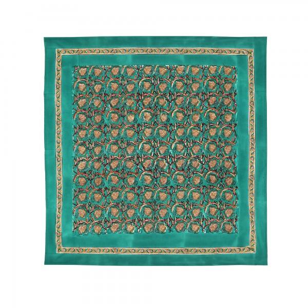 Tischdecke, türkis, floral, T 100 cm, B 100 cm