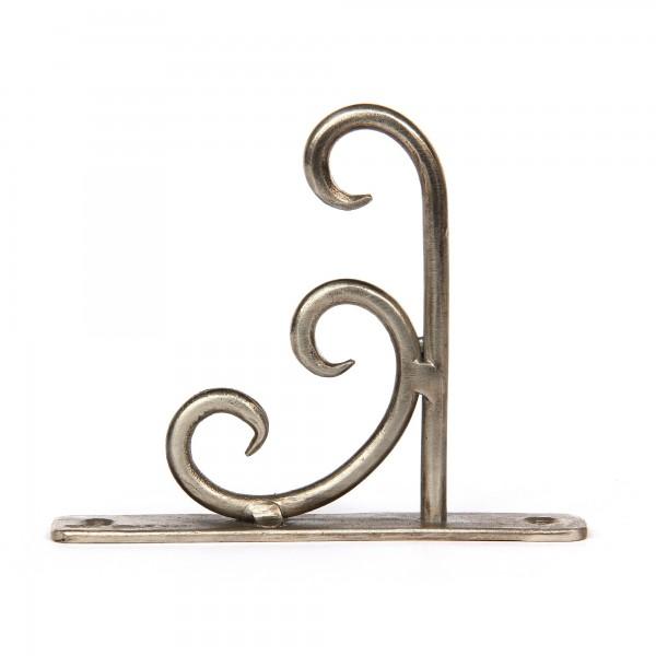 Wandhaken, antik nickel-finish, T 10 cm, B 2 cm, H 13 cm