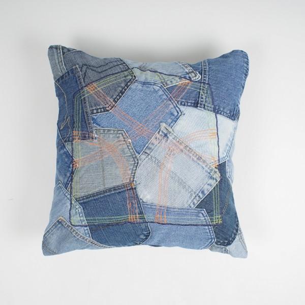 """Kissenhülle """"Patch Jeans"""", blau, L 45 cm, B 45 cm"""