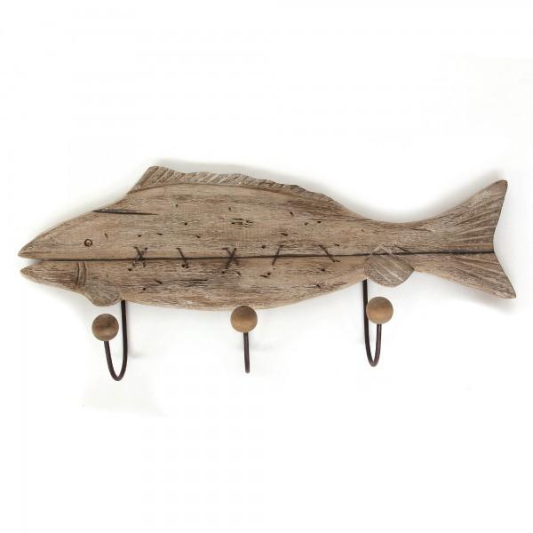 3er Haken 'Fisch', natur, T 5 cm, B 87 cm, H 25 cm