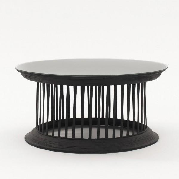 Opferschalentisch mit Glasplatte, schwarz, H 35 cm, Ø 78 cm