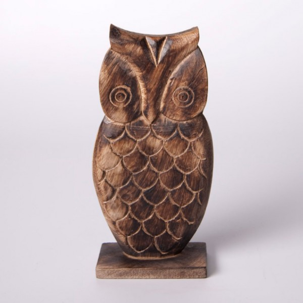"Eule ""Hilda"" aus Holz, braun, H 9 cm"