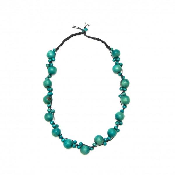 Halskette mit Holzkugeln, türkis