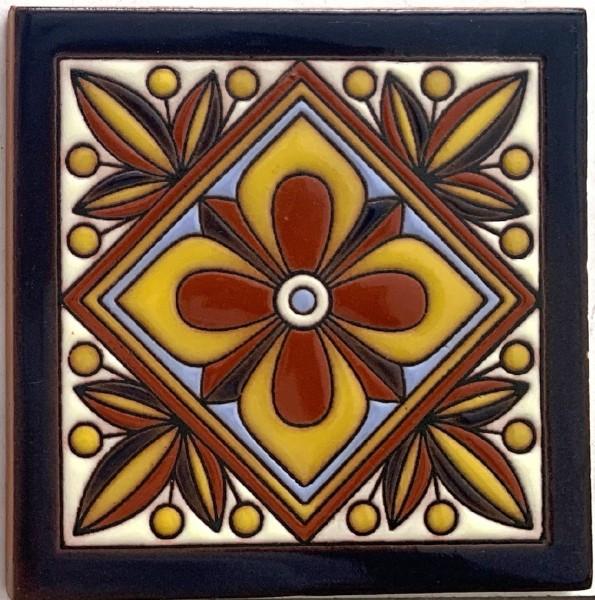 Reliefkachel 'Tepic', multicolor, T 10 cm, B 10 cm, H 0,5 cm