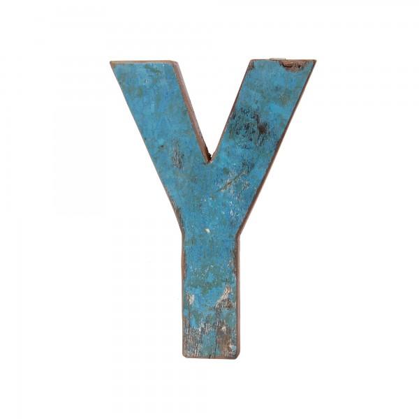 Holzbuchstabe 'Y', mehrfarbig, T 2,5 cm, B 13 cm, H 19 cm