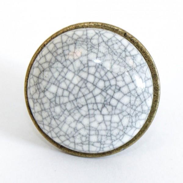 Knopf Craquelé rund, weiß, Ø 3 cm