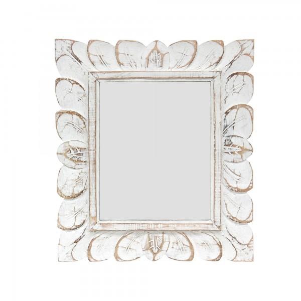 Spiegel 'Blätter', weiß gekälkt, T 3 cm, B 33 cm, H 39 cm