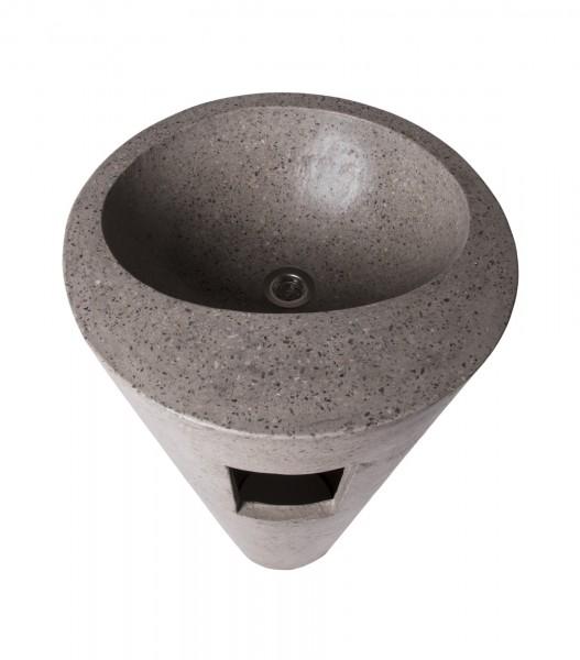 Waschbecken 'Terrazzo' stehend, grau, T 46 cm, B 46 cm, H 90 cm