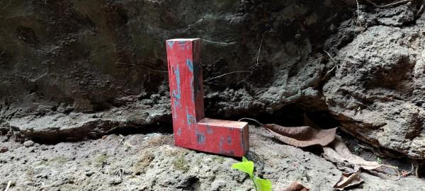 Holzbuchstabe 'L', mehrfarbig, T 2,5 cm, B 13 cm, H 19 cm