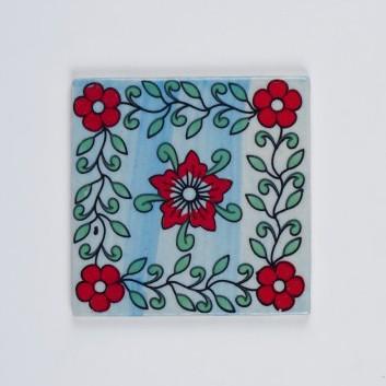 Handbemalter Keramikuntersetzer, blau/rot, L 10 cm, B 10 cm