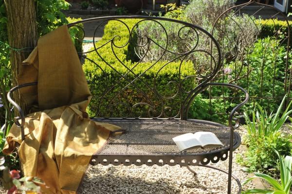 Gartenbank 'Stern', aus Metall, antik-braun, L 47 cm, B 127 cm, H 100