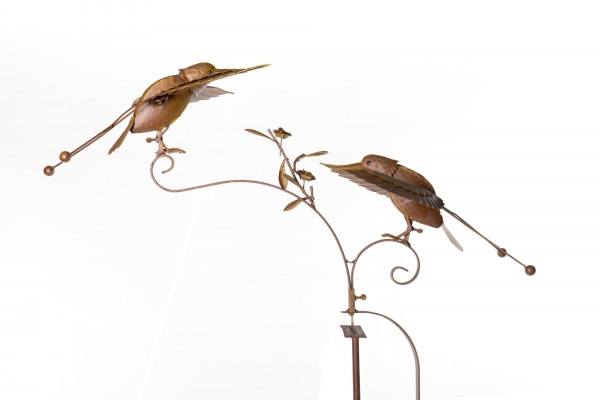 "Windpendler ""Kolibri Clemens und Carl"", rostbraun, L 32 cm, B 84 cm, H 132 cm"