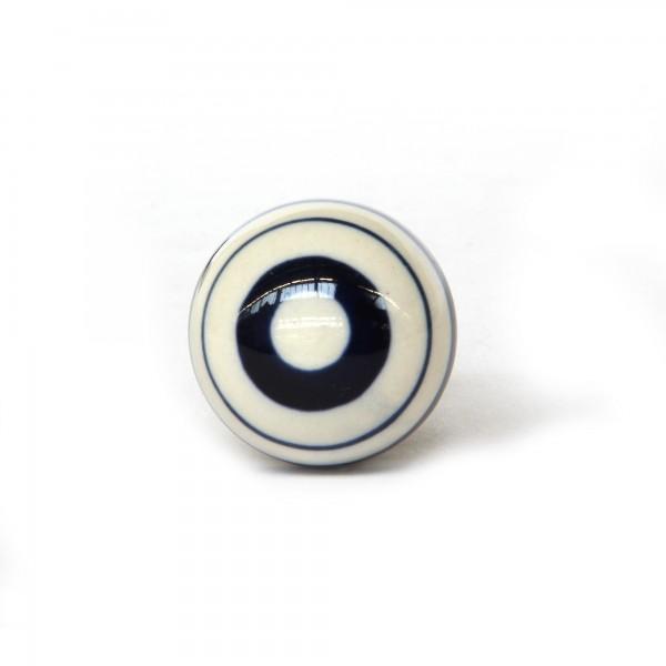 Knopf 'Ringe', blau, weiß, T 4 cm, B 4 cm, H 3,5 cm