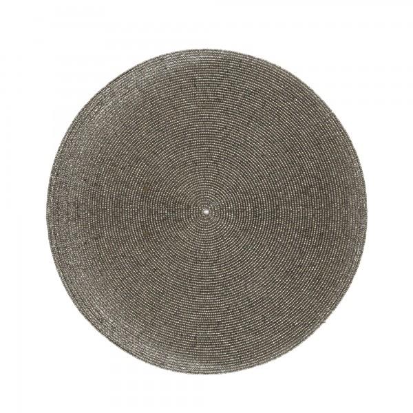 Ablage Glasperlen, silber, T 30 cm, B 30 cm, H 0,3 cm