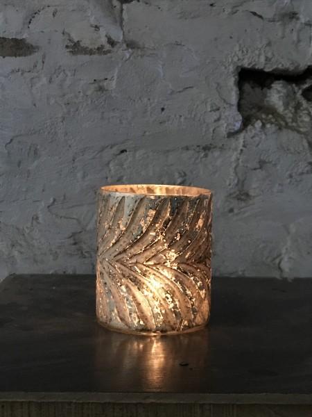 Windlicht 'Feder', grau, Ø 10 cm, H 12 cm