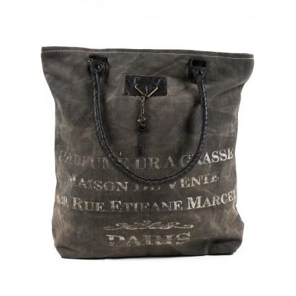 Tasche 'Vivienne' aus derbem Leinen, grau, B 40 cm, H 42 cm