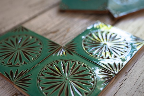 Fliese 'Rond turquoise', türkis, L 10 cm, B 10 cm, H 1 cm