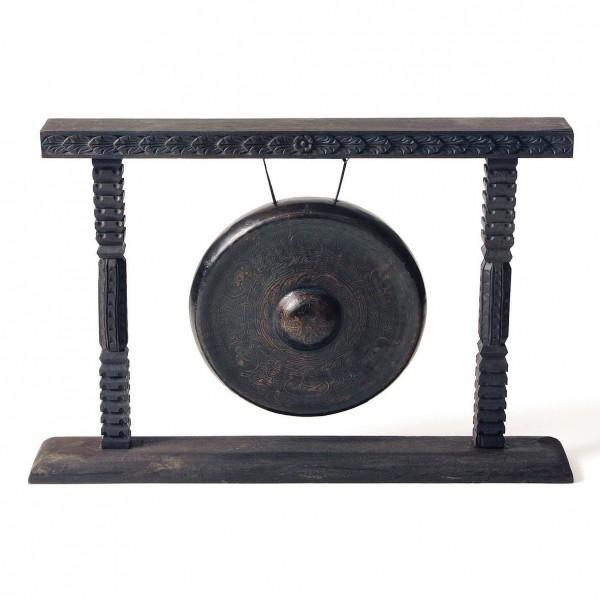 Holzständer für Gong, schwarz, L 9 cm, B 63 cm, H 43 cm