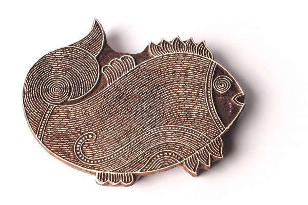 Textilstempel 'Fisch', braun, T 16 cm, B 1 cm
