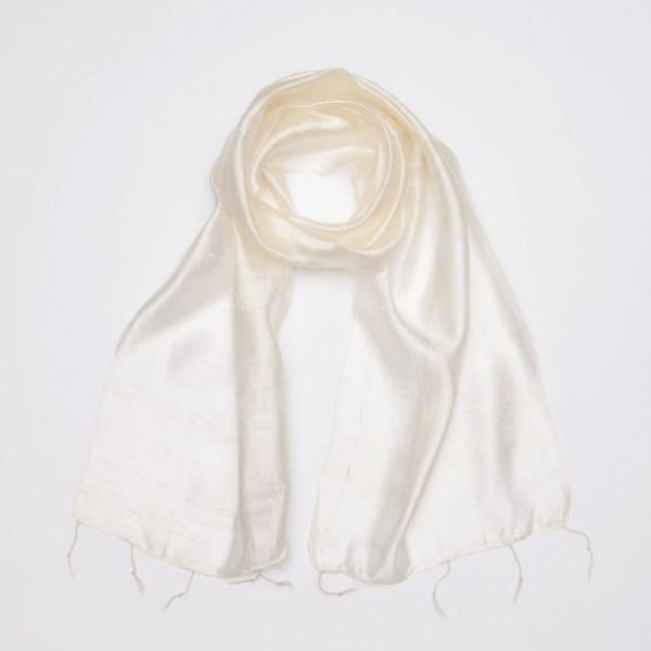 Seidenschal aus Thailand, weiß, L 175 cm, B 35 cm