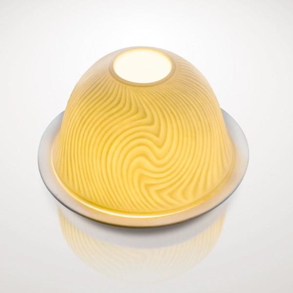 """Windlicht """"Vague"""" aus Porzellan, Ø 12 cm, H 7,5 cm"""