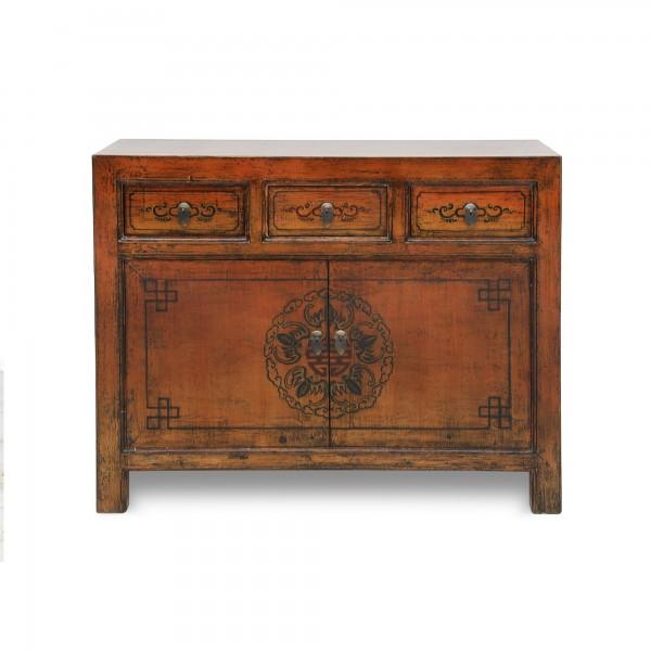 Sideboard handbemalt, 3 Schubladen, 2 Türen, braun, T 45 cm, B 110 cm, H 85 cm