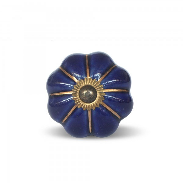 Knauf Blume, blau, Ø 4 cm, H 2 cm