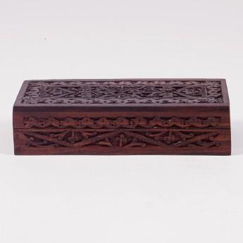 Holztruhe mit Schnitzerei klein, braun, L 8,5 cm, B 18,5 cm, H 4,5 cm