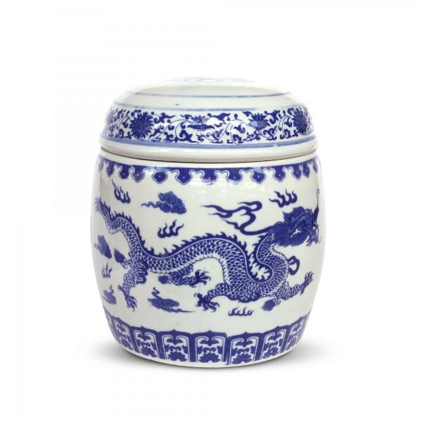 Deckeldose 'Lóng', weiß, blau, Ø 20 cm, H 26 cm